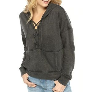 Black lace up hoodie pullover